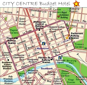 Aerial View of City Centre Budget Hotel Melbourne in Melbourne's Central Business District (CBD)